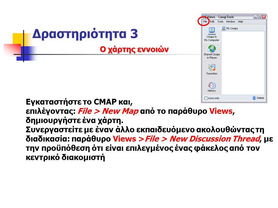 Δραστηριότητα 3 Ο χάρτης εννοιών Εγκαταστήστε το CMAP και, επιλέγοντας: File > New Map από το παράθυρο Views, δημιουργήστε ένα χάρτη.