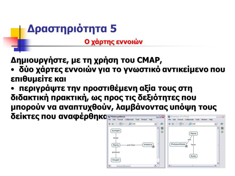 Δραστηριότητα 5 Ο χάρτης εννοιών Δημιουργήστε, με τη χρήση του CMAP, δύο χάρτες εννοιών για το γνωστικό αντικείμενο που επιθυμείτε και δύο χάρτες εννοιών για το γνωστικό αντικείμενο που επιθυμείτε και περιγράψτε την προστιθέμενη αξία τους στη διδακτική πρακτική, ως προς τις δεξιότητες που μπορούν να αναπτυχθούν, λαμβάνοντας υπόψη τους δείκτες που αναφέρθηκαν περιγράψτε την προστιθέμενη αξία τους στη διδακτική πρακτική, ως προς τις δεξιότητες που μπορούν να αναπτυχθούν, λαμβάνοντας υπόψη τους δείκτες που αναφέρθηκαν