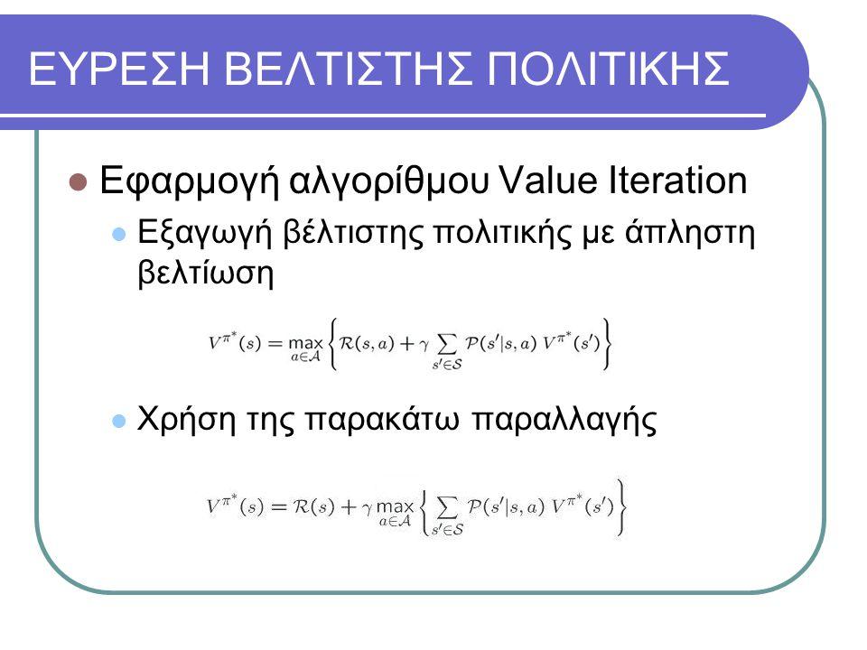 ΕΥΡΕΣΗ ΒΕΛΤΙΣΤΗΣ ΠΟΛΙΤΙΚΗΣ Εφαρμογή αλγορίθμου Value Iteration Εξαγωγή βέλτιστης πολιτικής με άπληστη βελτίωση Χρήση της παρακάτω παραλλαγής