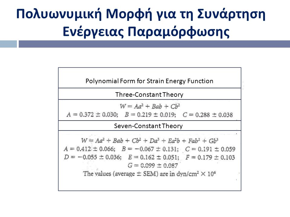 Polynomial Form for Strain Energy Function Three-Constant Theory Seven-Constant Theory