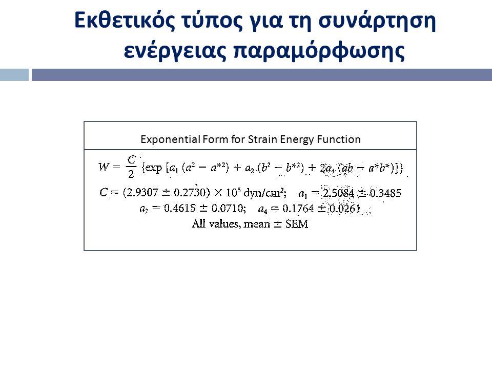 Εκθετικός τύπος για τη συνάρτηση ενέργειας παραμόρφωσης Exponential Form for Strain Energy Function