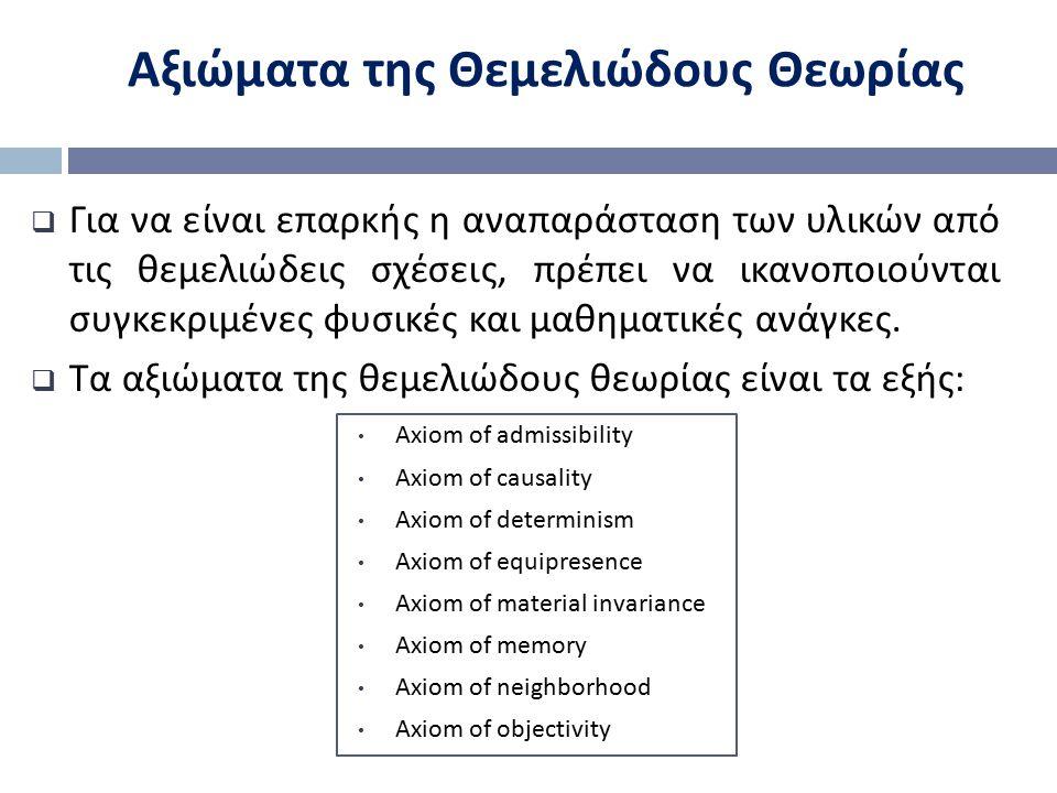 Αξιώματα της Θεμελιώδους Θεωρίας  Για να είναι επαρκής η αναπαράσταση των υλικών από τις θεμελιώδεις σχέσεις, πρέπει να ικανοποιούνται συγκεκριμένες