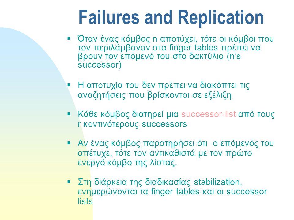 Failures and Replication  Όταν ένας κόμβος n αποτύχει, τότε οι κόμβοι που τον περιλάμβαναν στα finger tables πρέπει να βρουν τον επόμενό του στο δακτύλιο (n's successor)  Η αποτυχία του δεν πρέπει να διακόπτει τις αναζητήσεις που βρίσκονται σε εξέλιξη  Κάθε κόμβος διατηρεί μια successor-list από τους r κοντινότερους successors  Αν ένας κόμβος παρατηρήσει ότι ο επόμενός του απέτυχε, τότε τον αντικαθιστά με τον πρώτο ενεργό κόμβο της λίστας.