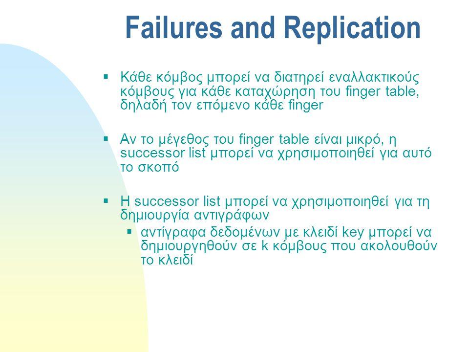 Failures and Replication  Κάθε κόμβος μπορεί να διατηρεί εναλλακτικούς κόμβους για κάθε καταχώρηση του finger table, δηλαδή τον επόμενο κάθε finger  Αν το μέγεθος του finger table είναι μικρό, η successor list μπορεί να χρησιμοποιηθεί για αυτό το σκοπό  Η successor list μπορεί να χρησιμοποιηθεί για τη δημιουργία αντιγράφων  αντίγραφα δεδομένων με κλειδί key μπορεί να δημιουργηθούν σε k κόμβους που ακολουθούν το κλειδί