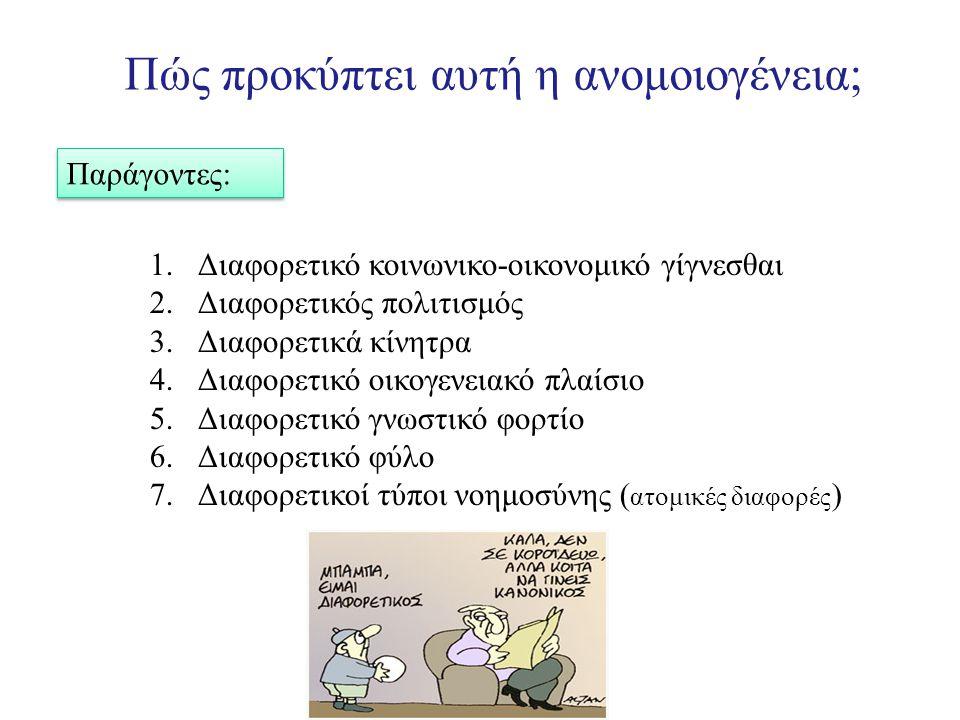 Πώς προκύπτει αυτή η ανομοιογένεια; Παράγοντες: 1.Διαφορετικό κοινωνικο-οικονομικό γίγνεσθαι 2.Διαφορετικός πολιτισμός 3.Διαφορετικά κίνητρα 4.Διαφορετικό οικογενειακό πλαίσιο 5.Διαφορετικό γνωστικό φορτίο 6.Διαφορετικό φύλο 7.Διαφορετικοί τύποι νοημοσύνης ( ατομικές διαφορές )