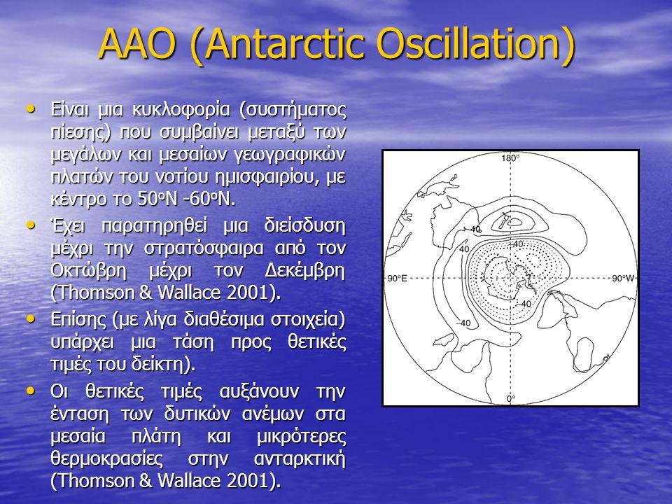 AAO (Antarctic Oscillation) Είναι μια κυκλοφορία (συστήματος πίεσης) που συμβαίνει μεταξύ των μεγάλων και μεσαίων γεωγραφικών πλατών του νοτίου ημισφαιρίου, με κέντρο το 50 ο N -60 o N.