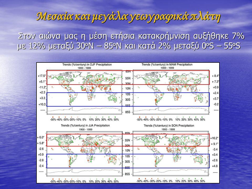 Μεσαία και μεγάλα γεωγραφικά πλάτη Μεσαία και μεγάλα γεωγραφικά πλάτη Στον αιώνα μας η μέση ετήσια κατακρήμνιση αυξήθηκε 7% με 12% μεταξύ 30 ο Ν – 85 ο Ν Στον αιώνα μας η μέση ετήσια κατακρήμνιση αυξήθηκε 7% με 12% μεταξύ 30 ο Ν – 85 ο Ν και κατά 2% μεταξύ 0 ο S – 55 ο S