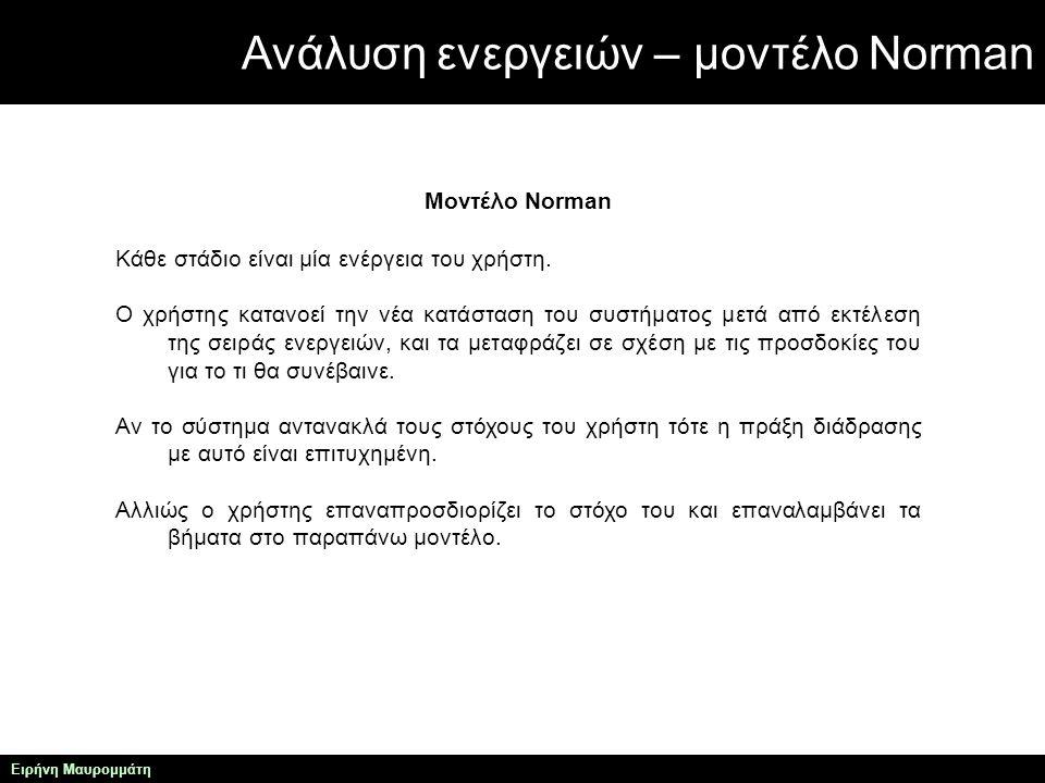 Ανάλυση ενεργειών – μοντέλο Norman Ειρήνη Μαυρομμάτη Μοντέλο Norman Κάθε στάδιο είναι μία ενέργεια του χρήστη.