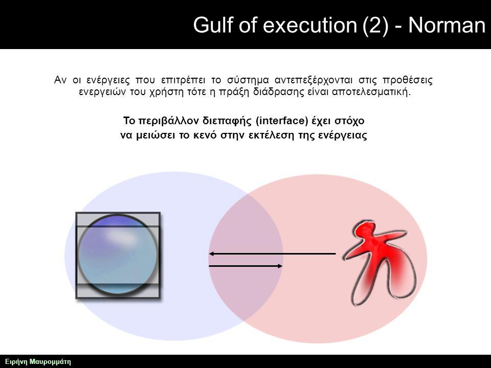 Gulf of execution (2) - Norman Ειρήνη Μαυρομμάτη Αν οι ενέργειες που επιτρέπει το σύστημα αντεπεξέρχονται στις προθέσεις ενεργειών του χρήστη τότε η πράξη διάδρασης είναι αποτελεσματική.