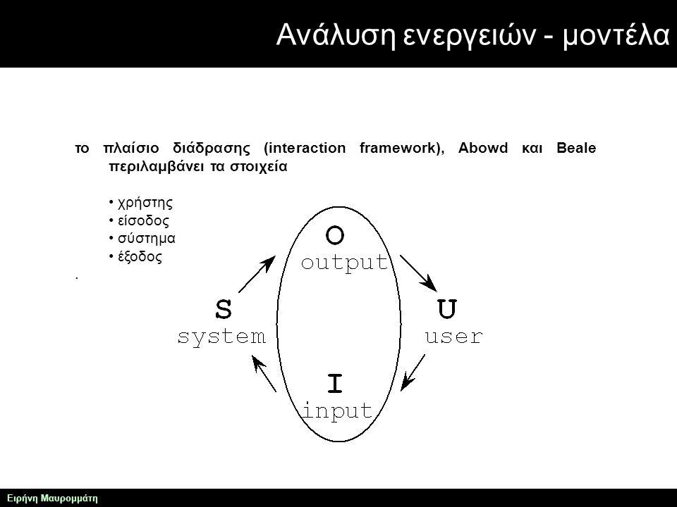 Ανάλυση ενεργειών - μοντέλα Ειρήνη Μαυρομμάτη το πλαίσιο διάδρασης (interaction framework), Abowd και Beale περιλαμβάνει τα στοιχεία χρήστης είσοδος σύστημα έξοδος.