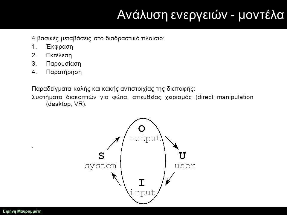 Ανάλυση ενεργειών - μοντέλα Ειρήνη Μαυρομμάτη 4 βασικές μεταβάσεις στο διαδραστικό πλαίσιο: 1.Έκφραση 2.Εκτέλεση 3.Παρουσίαση 4.Παρατήρηση Παραδείγματα καλής και κακής αντιστοιχίας της διεπαφής: Συστήματα διακοπτών για φώτα, απευθείας χειρισμός (direct manipulation (desktop, VR)..