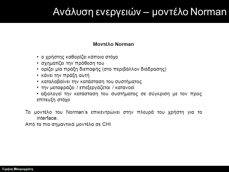 Ανάλυση ενεργειών – μοντέλο Norman Ειρήνη Μαυρομμάτη Μοντέλο Norman ο χρήστης καθορίζει κάποιο στόχο σχηματίζει την πρόθεση του ορίζει μία πράξη διεπαφής (στο περιβάλλον διάδρασης) κάνει την πράξη αυτή καταλαβαίνει την κατάσταση του συστήματος την μεταφράζει / επεξεργάζεται / κατανοεί αξιολογεί την κατάσταση του συστήματος σε σύγκριση με τον προς επίτευξη στόχο Το μοντέλο του Norman's επικεντρώνει στην πλευρά του χρήστη για το interface.