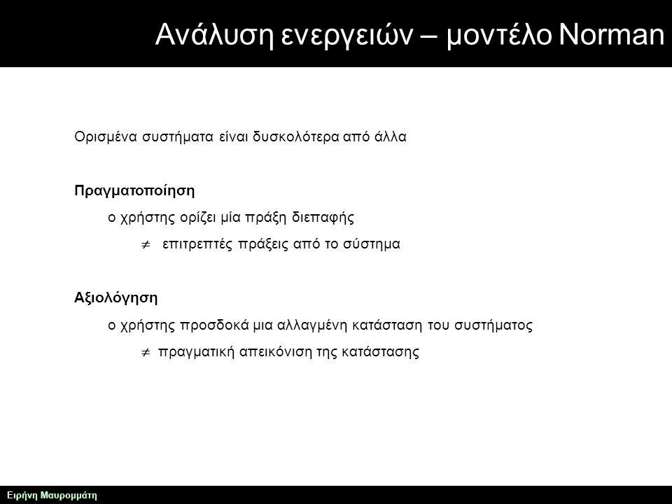 Ανάλυση ενεργειών – μοντέλο Norman Ειρήνη Μαυρομμάτη Χρησιμότητα μοντέλου Νόρμαν το μοντέλο Νόρμαν χρησιμοποιείται για να εξηγήσει γιατί ορισμένα περιβάλλοντα διεπαφής προκαλούν προβλήματα στους χρήστες.