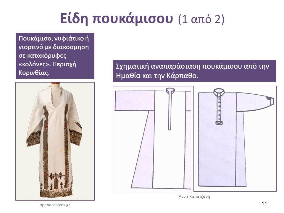 Είδη πουκάμισου (1 από 2) Πουκάμισο, νυφιάτικο ή γιορτινό με διακόσμηση σε κατακόρυφες «κολόνες». Περιοχή Κορινθίας. openarchives.gr Σχηματική αναπαρά