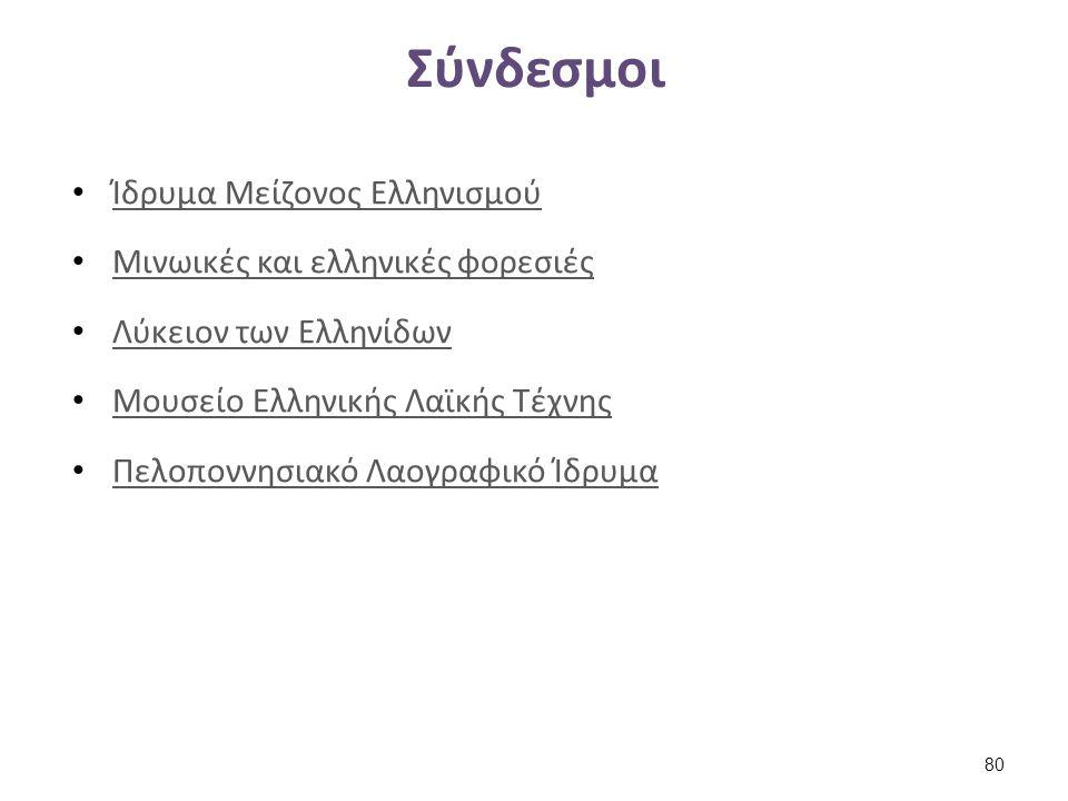 Σύνδεσμοι Ίδρυμα Μείζονος Ελληνισμού Μινωικές και ελληνικές φορεσιές Λύκειον των Ελληνίδων Μουσείο Ελληνικής Λαϊκής Τέχνης Πελοποννησιακό Λαογραφικό Ί