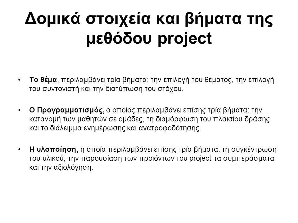 Δομικά στοιχεία και βήματα της μεθόδου project Το θέμα, περιλαμβάνει τρία βήματα: την επιλογή του θέματος, την επιλογή του συντονιστή και την διατύπωσ
