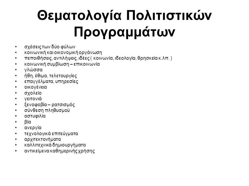 Θεματολογία Πολιτιστικών Προγραμμάτων σχέσεις των δύο φύλων κοινωνική και οικονομική οργάνωση πεποιθήσεις, αντιλήψεις, ιδέες ( κοινωνία, ιδεολογία, θρ