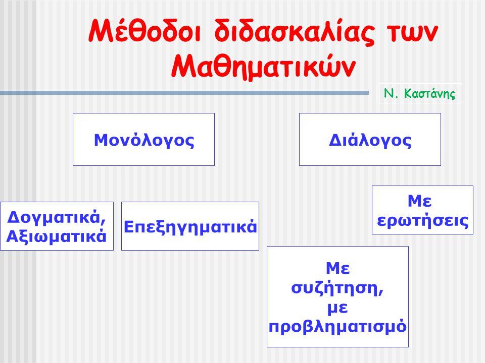Μέθοδοι διδασκαλίας των Μαθηματικών ΜονόλογοςΔιάλογος Δογματικά, Αξιωματικά Επεξηγηματικά Με ερωτήσεις Με συζήτηση, με προβληματισμό Ν. Καστάνης