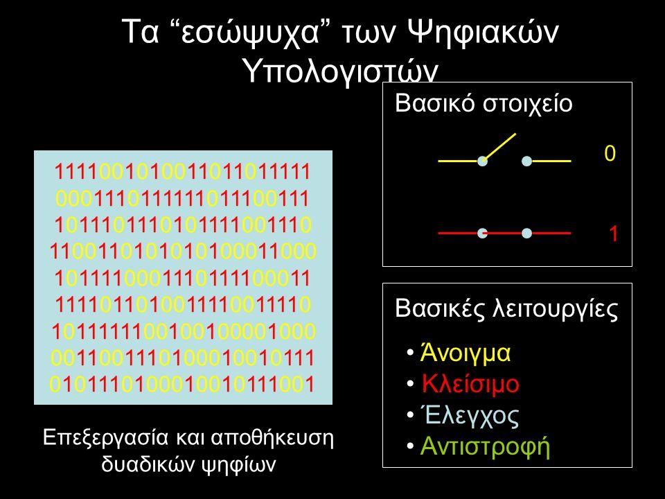 Τα βασικά υποδείγματα Θεωρητική Πληροφορική: –Ασχολείται με τον σχεδιασμό και τη μελέτη των αλγορίθμων, τη βαθύτερη κατανόηση της έννοιας του υπολογισμού.