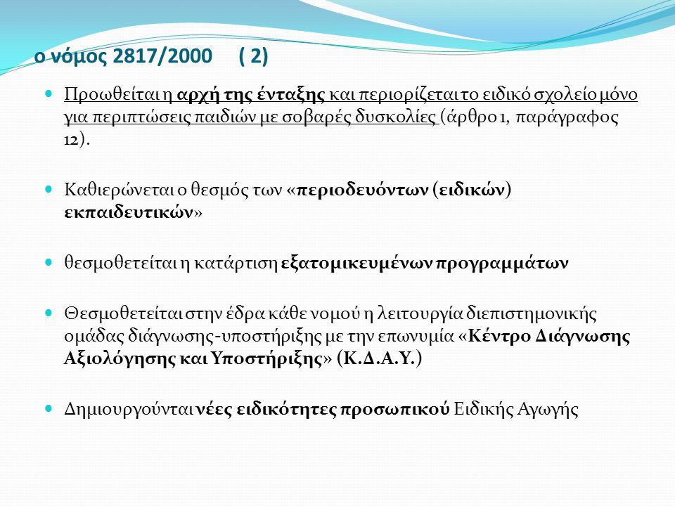 ο νόμος 2817/2000 ( 2) Προωθείται η αρχή της ένταξης και περιορίζεται το ειδικό σχολείο μόνο για περιπτώσεις παιδιών με σοβαρές δυσκολίες (άρθρο 1, πα