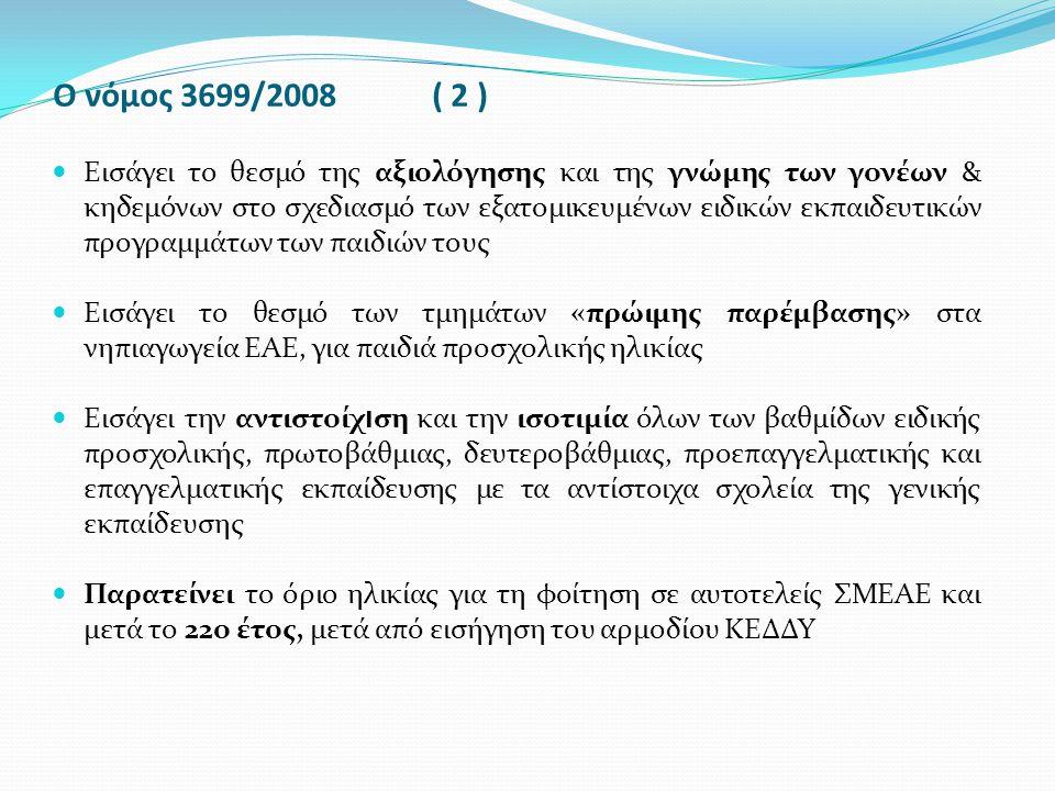 Ο νόμος 3699/2008 ( 2 ) Εισάγει το θεσμό της αξιολόγησης και της γνώμης των γονέων & κηδεμόνων στο σχεδιασμό των εξατομικευμένων ειδικών εκπαιδευτικών