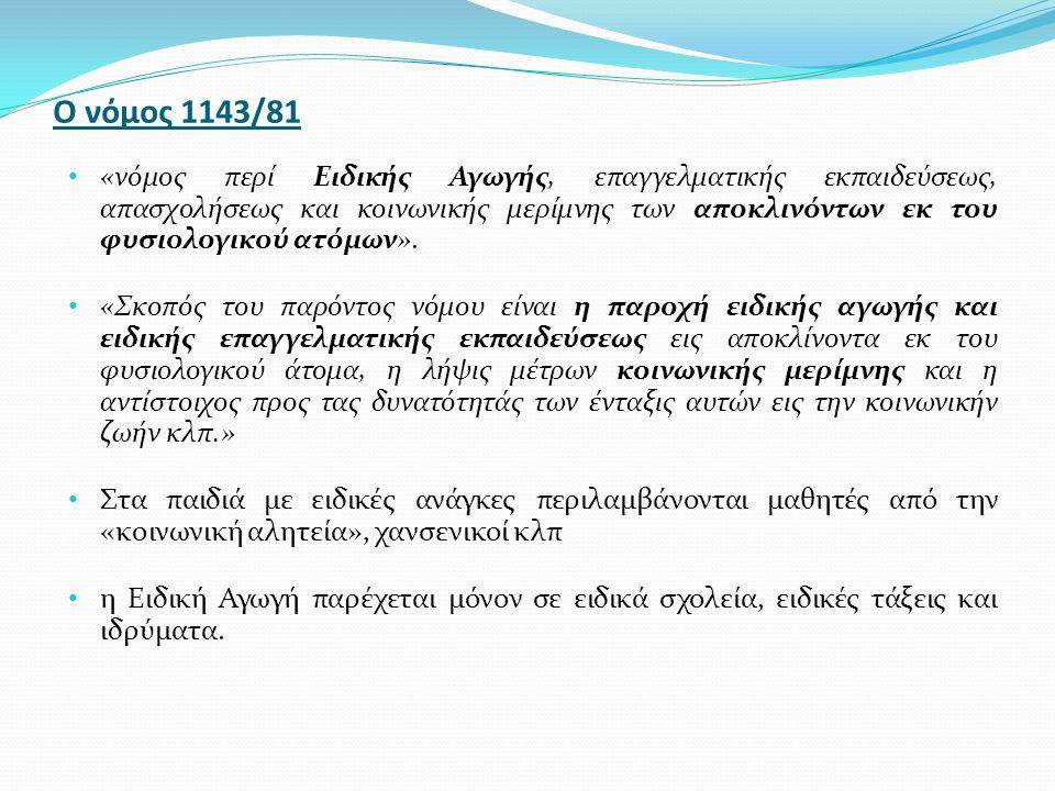 Ο νόμος 3699/2008 ( 3 ) Κωδικοποιεί για πρώτη φορά όλες τις ειδικότητες των εκπαιδευτικών ΕΑΕ, ανά κατηγορία αναπηρίας Συστήνει όλους τους κλάδους εκπαιδευτικών ΕΑΕ, ειδικού εκπαιδευτικού προσωπικού (ΕΕΠ) όλων των ειδικοτήτων Διευρύνει τις αρμοδιότητες και τη συμμετοχή του Παιδαγωγικού Ινστιτούτου στην Ειδική Αγωγή & Εκπαίδευση