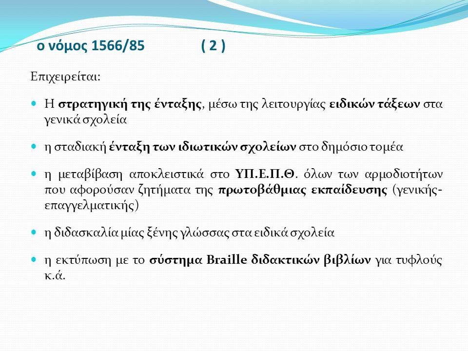 ο νόμος 1566/85 ( 3) Ωστόσο, δεν προβλέπει μετεκπαίδευση-επιμόρφωση σε θέματα ειδικής αγωγής για τους καθηγητές της δευτεροβάθμιας εκπαίδευσης δεν προβλέπει την Ίδρυση Τμήματος Ειδικής Αγωγής στο Παιδαγωγικό Ινστιτούτο δε θεσμοθετεί τη δυνατότητα μεταπτυχιακών σπουδών Ειδικής Αγωγής στα πανεπιστήμια καθορίζει ως αρμόδιο για το ιατροδιαγνωστικό-συμβουλευτικό έργο το Υπουργείο Υγείας Πρόνοιας και όχι το ΥΠ.Ε.Π.Θ.