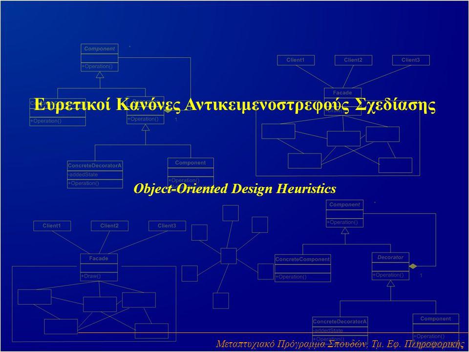 Ευρετικοί Κανόνες Αντικειμενοστρεφούς Σχεδίασης Object-Oriented Design Heuristics Μεταπτυχιακό Πρόγραμμα Σπουδών, Τμ. Εφ. Πληροφορικής