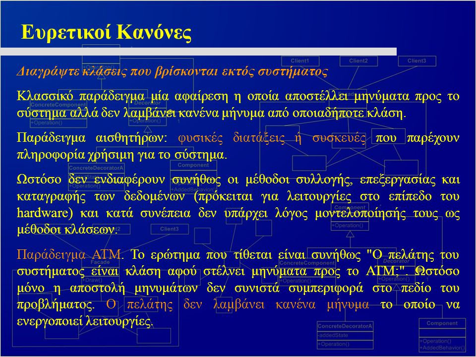 Ευρετικοί Κανόνες Διαγράψτε κλάσεις που βρίσκονται εκτός συστήματος Κλασσικό παράδειγμα μία αφαίρεση η οποία αποστέλλει μηνύματα προς το σύστημα αλλά