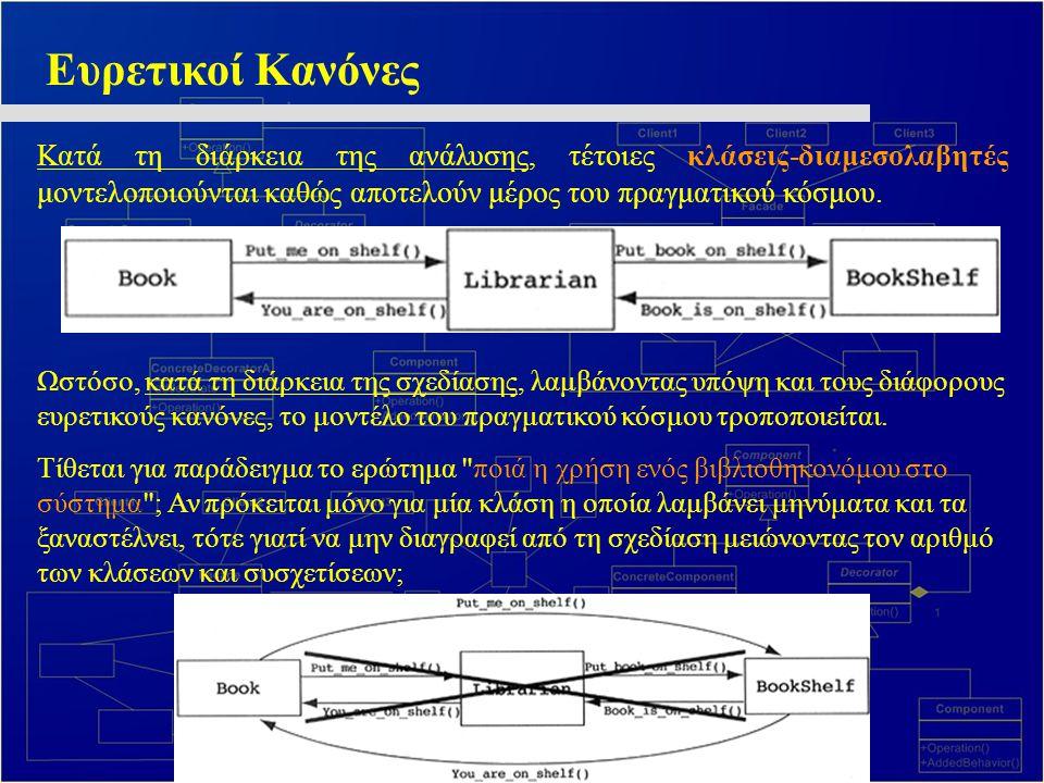 Ευρετικοί Κανόνες Κατά τη διάρκεια της ανάλυσης, τέτοιες κλάσεις-διαμεσολαβητές μοντελοποιούνται καθώς αποτελούν μέρος του πραγματικού κόσμου. Ωστόσο,