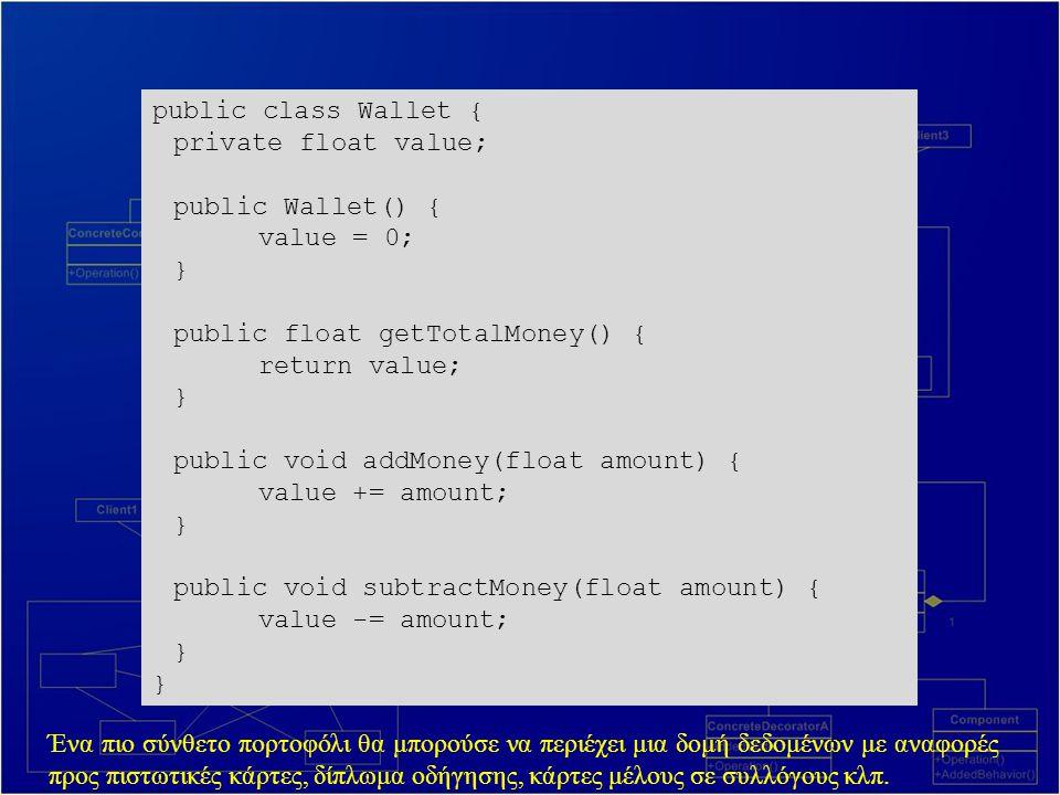 public class Wallet { private float value; public Wallet() { value = 0; } public float getTotalMoney() { return value; } public void addMoney(float amount) { value += amount; } public void subtractMoney(float amount) { value -= amount; } Ένα πιο σύνθετο πορτοφόλι θα μπορούσε να περιέχει μια δομή δεδομένων με αναφορές προς πιστωτικές κάρτες, δίπλωμα οδήγησης, κάρτες μέλους σε συλλόγους κλπ.