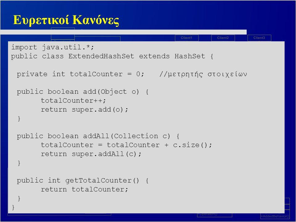 Ευρετικοί Κανόνες import java.util.*; public class ExtendedHashSet extends HashSet { private int totalCounter = 0;//μετρητής στοιχείων public boolean add(Object o) { totalCounter++; return super.add(o); } public boolean addAll(Collection c) { totalCounter = totalCounter + c.size(); return super.addAll(c); } public int getTotalCounter() { return totalCounter; }