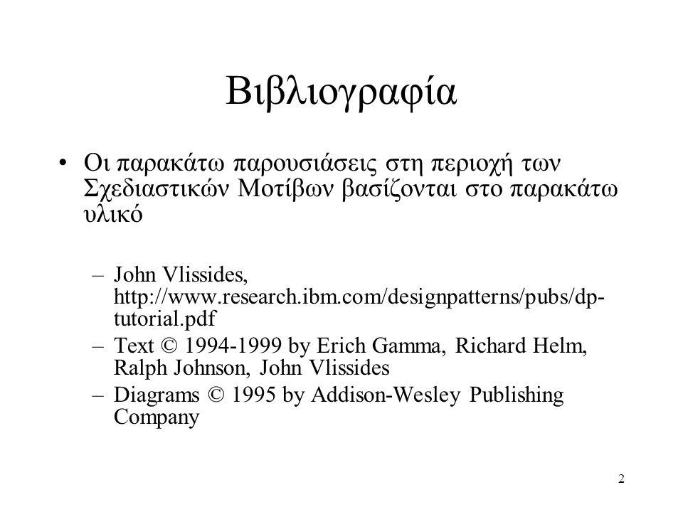 2 Βιβλιογραφία Οι παρακάτω παρουσιάσεις στη περιοχή των Σχεδιαστικών Μοτίβων βασίζονται στο παρακάτω υλικό –John Vlissides, http://www.research.ibm.com/designpatterns/pubs/dp- tutorial.pdf –Text © 1994-1999 by Erich Gamma, Richard Helm, Ralph Johnson, John Vlissides –Diagrams © 1995 by Addison-Wesley Publishing Company