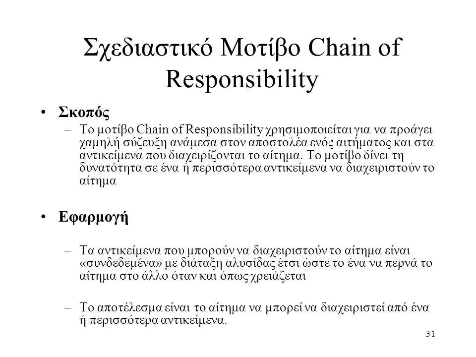 31 Σχεδιαστικό Μοτίβο Chain of Responsibility Σκοπός –Το μοτίβο Chain of Responsibility χρησιμοποιείται για να προάγει χαμηλή σύζευξη ανάμεσα στον αποστολέα ενός αιτήματος και στα αντικείμενα που διαχειρίζονται το αίτημα.
