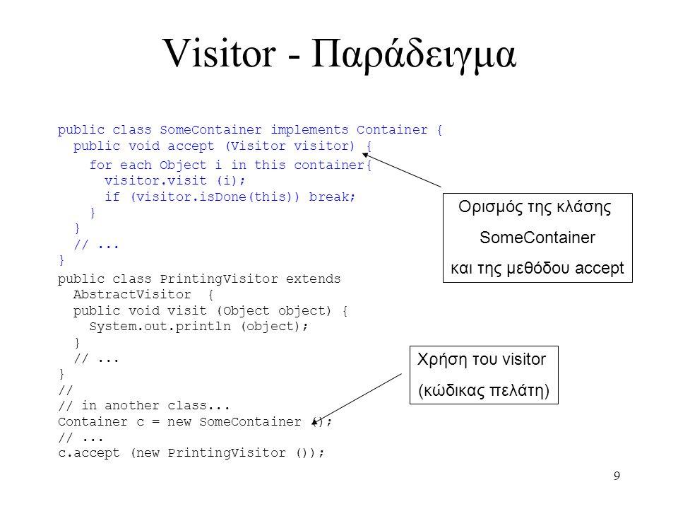 20 Observer – Παράδειγμα Πελάτη (2) class DigitalClock: public Observer { public: DigitalClock(ClockTimer *); ~DigitalClock(); void Update(Subject *); void Draw(); private: ClockTimer *_subject; }; DigitalClock::DigitalClock (ClockTimer *s) { _subject = s; _subject->Attach(this); } DigitalClock::~DigitalClock () { _subject->Detach(this); } void DigitalClock::Update (Subject *theChangedSubject) { if(theChangedSubject == _subject) draw(); } void DigitalClock::Draw () { int hour = _subject->GetHour(); int minute = _subject->GetMinute(); int second = _subject->GetSecond(); // draw operation } class AnalogClock: public Observer { public: AnalogClock(ClockTimer *); ~AnalogClock(); void Update(Subject *); void Draw(); private: ClockTimer *_subject; }; int main(void) { ClockTimer *timer = new ClockTimer; AnalogClock *analogClock = new AnalogClock(timer); DigitalClock *digitalClock = new DigitalClock(timer); timer->Tick(); return 0; }