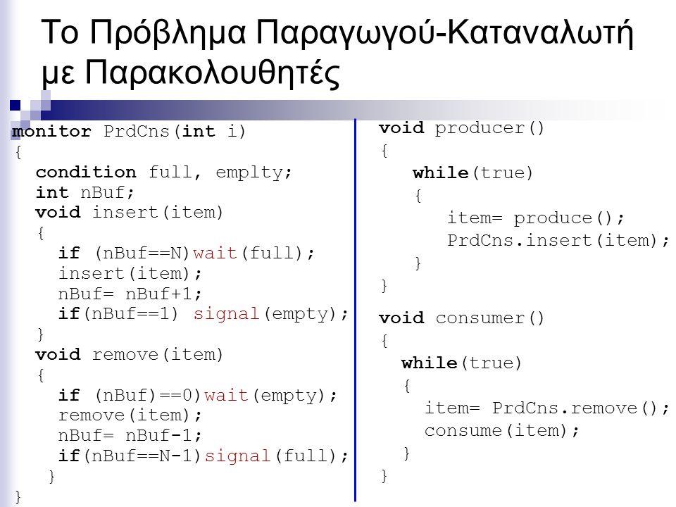 Το Πρόβλημα Παραγωγού-Καταναλωτή με Παρακολουθητές monitor PrdCns(int i) { condition full, emplty; int nBuf; void insert(item) { if (nBuf==N)wait(full