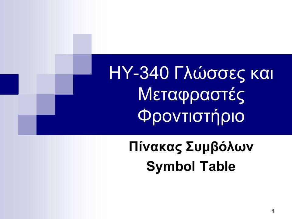 22 Παράδειγμα Symbol Table – Yacc (2/2) lvalue: ::ID {p = LookUp($2, 0); // Αναζήτηση ID στη καθολική εμβέλεια if(p == null) { //error } | … block: '{' {++scope;} stmts '}' {Hide(scope--);}