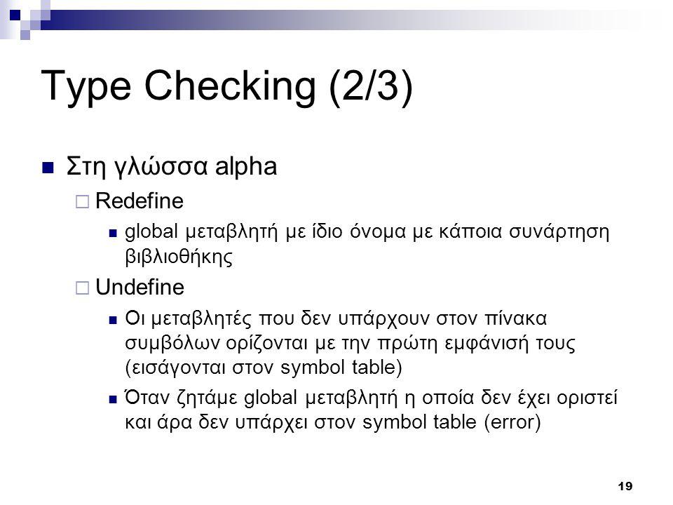 19 Type Checking (2/3) Στη γλώσσα alpha  Redefine global μεταβλητή με ίδιο όνομα με κάποια συνάρτηση βιβλιοθήκης  Undefine Οι μεταβλητές που δεν υπάρχουν στον πίνακα συμβόλων ορίζονται με την πρώτη εμφάνισή τους (εισάγονται στον symbol table) Όταν ζητάμε global μεταβλητή η οποία δεν έχει οριστεί και άρα δεν υπάρχει στον symbol table (error)
