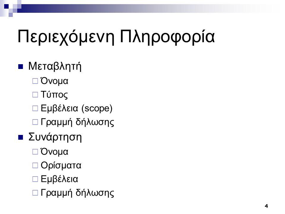 4 Περιεχόμενη Πληροφορία Μεταβλητή  Όνομα  Τύπος  Εμβέλεια (scope)  Γραμμή δήλωσης Συνάρτηση  Όνομα  Ορίσματα  Εμβέλεια  Γραμμή δήλωσης