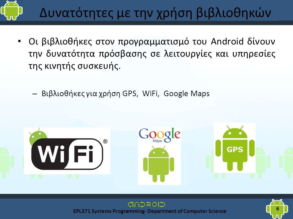 Δυνατότητες με την χρήση βιβλιοθηκών Οι βιβλιοθήκες στον προγραμματισμό του Android δίνουν την δυνατότητα πρόσβασης σε λειτουργίες και υπηρεσίες της κινητής συσκευής.
