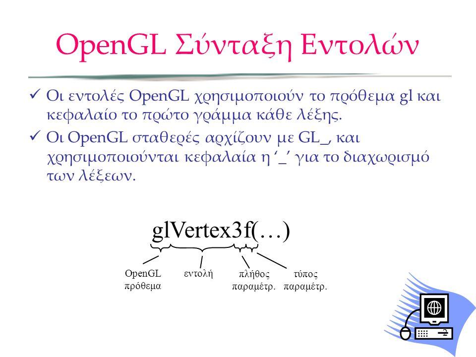 OpenGL Σύνταξη Εντολών Οι εντολές OpenGL χρησιμοποιούν το πρόθεμα gl και κεφαλαίο το πρώτο γράμμα κάθε λέξης. Οι OpenGL σταθερές αρχίζουν με GL_, και