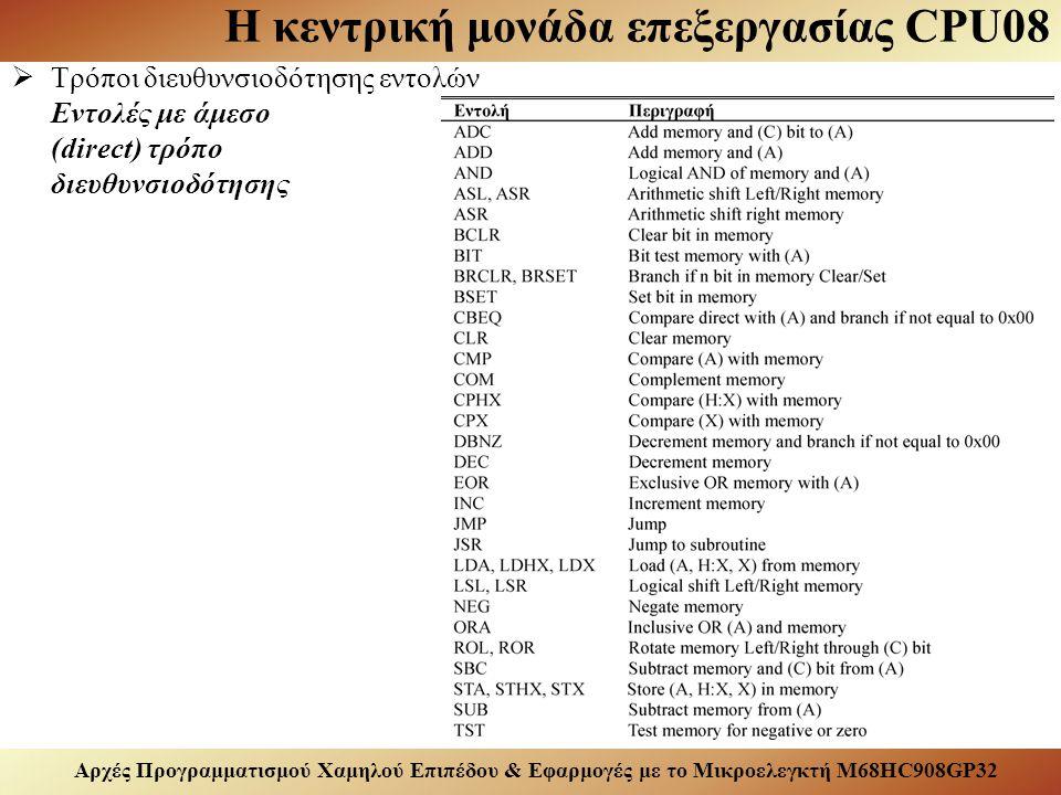 Αρχές Προγραμματισμού Χαμηλού Επιπέδου & Εφαρμογές με το Μικροελεγκτή M68HC908GP32 Η κεντρική μονάδα επεξεργασίας CPU08  Τρόποι διευθυνσιοδότησης εντολών Εντολές με άμεσο (direct) τρόπο διευθυνσιοδότησης