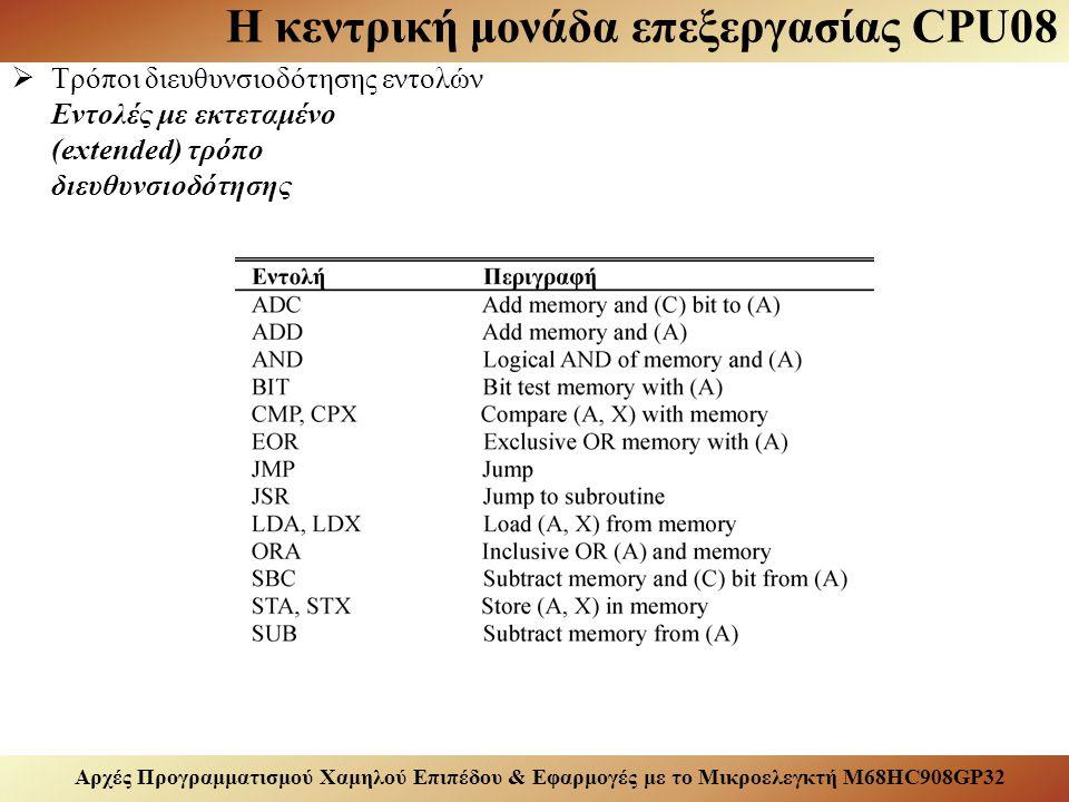 Αρχές Προγραμματισμού Χαμηλού Επιπέδου & Εφαρμογές με το Μικροελεγκτή M68HC908GP32 Η κεντρική μονάδα επεξεργασίας CPU08  Τρόποι διευθυνσιοδότησης εντολών Εντολές με εκτεταμένο (extended) τρόπο διευθυνσιοδότησης