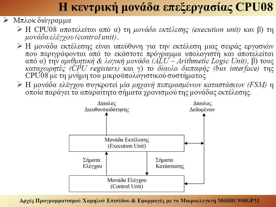 Αρχές Προγραμματισμού Χαμηλού Επιπέδου & Εφαρμογές με το Μικροελεγκτή M68HC908GP32 Η κεντρική μονάδα επεξεργασίας CPU08  Καταχωρητές  Η CPU08 αποτελείται από τους καταχωρητές: accumulator (A), index register (H:X), stack pointer (SP), program counter (PC), condition code regtister (CCR).