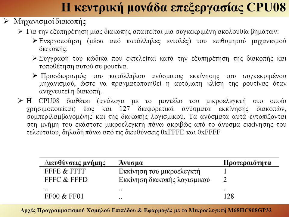 Αρχές Προγραμματισμού Χαμηλού Επιπέδου & Εφαρμογές με το Μικροελεγκτή M68HC908GP32 Η κεντρική μονάδα επεξεργασίας CPU08  Τρόποι διευθυνσιοδότησης εντολών:  Διαδικασία με την οποία οι εντολές του υπολογιστικού συστήματος αποκτούν πρόσβαση στους καταχωρητές της κεντρικής μονάδας επεξεργασίας και της μνήμης.