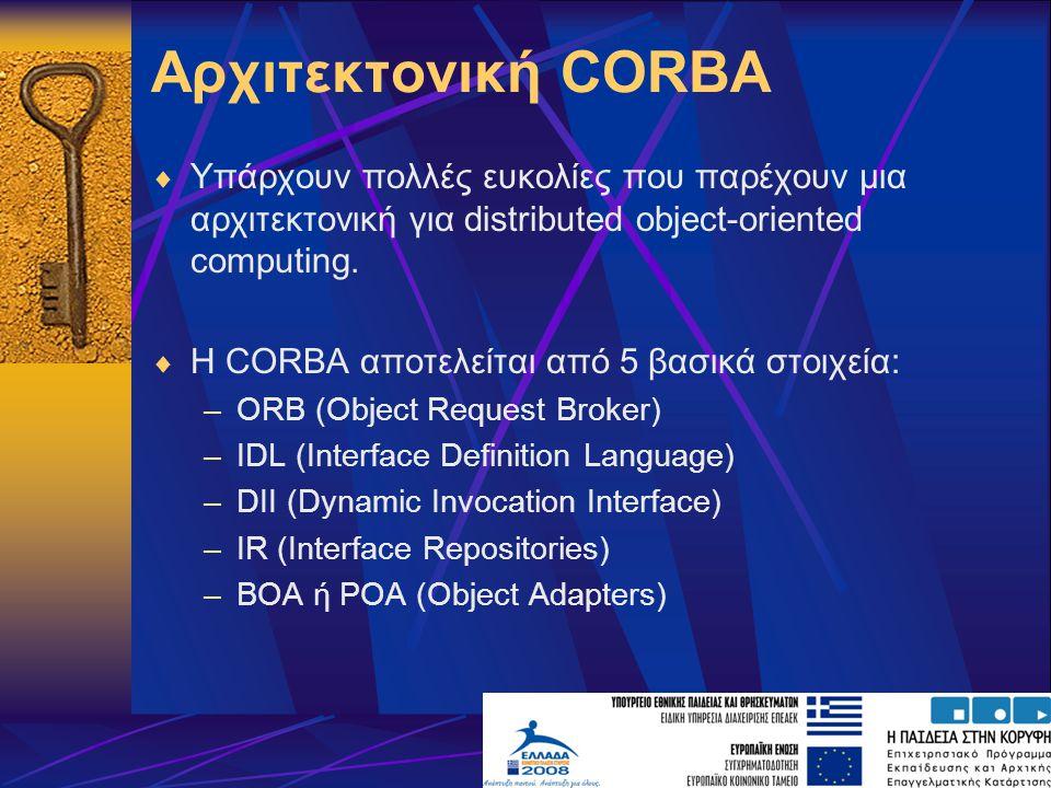 Αρχιτεκτονική CORBA  Υπάρχουν πολλές ευκολίες που παρέχουν μια αρχιτεκτονική για distributed object-oriented computing.