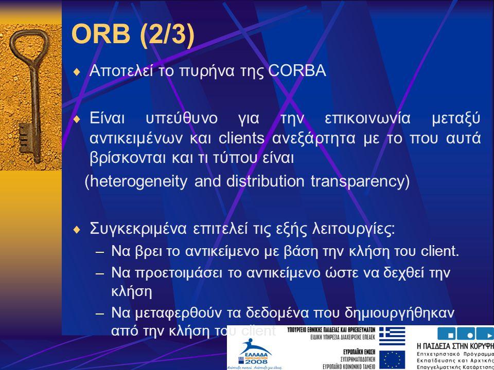 ORB (2/3)  Αποτελεί το πυρήνα της CORBA  Είναι υπεύθυνο για την επικοινωνία μεταξύ αντικειμένων και clients ανεξάρτητα με το που αυτά βρίσκονται και τι τύπου είναι (heterogeneity and distribution transparency)  Συγκεκριμένα επιτελεί τις εξής λειτουργίες: –Να βρει το αντικείμενο με βάση την κλήση του client.