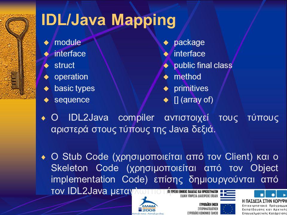 IDL/Java Mapping  Ο IDL2Java compiler αντιστοιχεί τους τύπους αριστερά στους τύπους της Java δεξιά.
