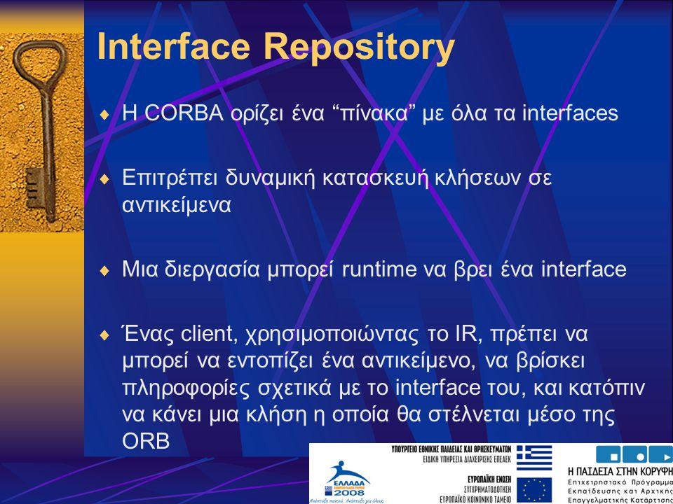 Interface Repository  Η CORBA ορίζει ένα πίνακα με όλα τα interfaces  Επιτρέπει δυναμική κατασκευή κλήσεων σε αντικείμενα  Μια διεργασία μπορεί runtime να βρει ένα interface  Ένας client, χρησιμοποιώντας το IR, πρέπει να μπορεί να εντοπίζει ένα αντικείμενο, να βρίσκει πληροφορίες σχετικά με το interface του, και κατόπιν να κάνει μια κλήση η οποία θα στέλνεται μέσο της ORB