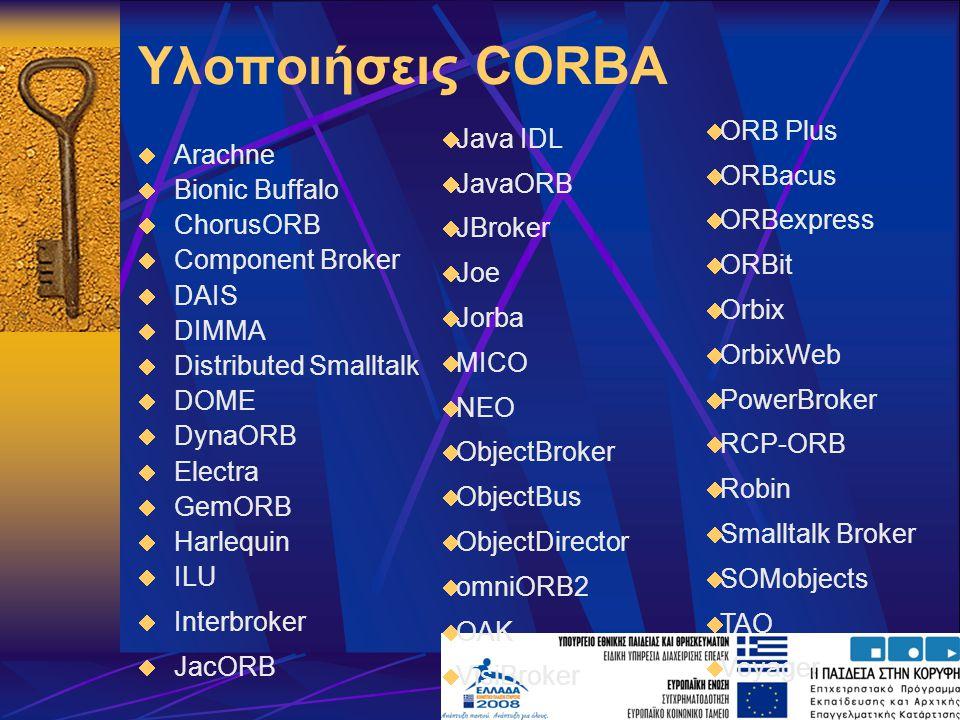 Υλοποιήσεις CORBA  Arachne  Bionic Buffalo  ChorusORB  Component Broker  DAIS  DIMMA  Distributed Smalltalk  DOME  DynaORB  Electra  GemORB  Harlequin  ILU  Interbroker  JacORB  Java IDL  JavaORB  JBroker  Joe  Jorba  MICO  NEO  ObjectBroker  ObjectBus  ObjectDirector  omniORB2  OAK  VisiBroker  ORB Plus  ORBacus  ORBexpress  ORBit  Orbix  OrbixWeb  PowerBroker  RCP-ORB  Robin  Smalltalk Broker  SOMobjects  TAO  Voyager